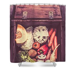 Fresh Vegetables In Wooden Box Shower Curtain by Jorgo Photography - Wall Art Gallery