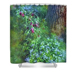 Shower Curtain featuring the photograph Fritillaria And Forget-me-nots  by Connie Handscomb