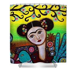 Frida And Bird Shower Curtain by Pristine Cartera Turkus