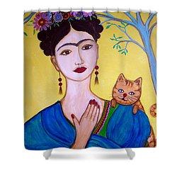 Frida And Her Cat Shower Curtain by Pristine Cartera Turkus
