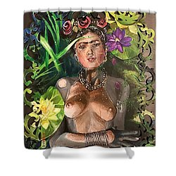 Shower Curtain featuring the painting Frida De Ophelia by Baroquen Krafts