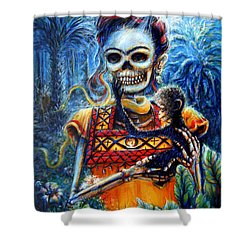 Shower Curtain featuring the painting Frida In The Moonlight Garden by Heather Calderon