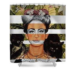 Frida Kahlo And Joan Crawford Shower Curtain by Luigi Tarini