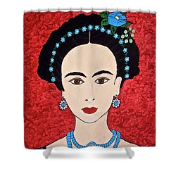 Frida With Blue Flowers Shower Curtain