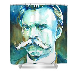 Friedrich Nietzsche Watercolor Portrait.1 Shower Curtain