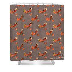 Shower Curtain featuring the mixed media Friendly Owls On Biscuit Brown by Nancy Lee Moran