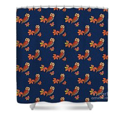 Shower Curtain featuring the mixed media Friendly Owls On Midnight Blue by Nancy Lee Moran