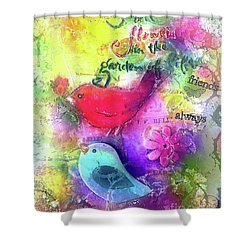 Shower Curtain featuring the digital art Friends Always by Claire Bull