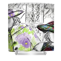 Shower Curtain featuring the painting Friends And Flowers by Cathie Richardson
