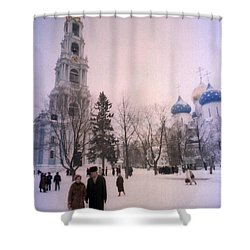 Friends In Front Of Church Shower Curtain by Ted Pollard