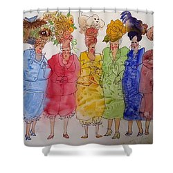 The Crazy Hat Society Shower Curtain by Marilyn Jacobson