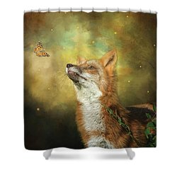 Shower Curtain featuring the digital art Friends On A Firefly Evening by Nicole Wilde