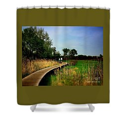 Friends Walking The Wetlands Trail Shower Curtain