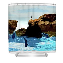 Friends With Dolphins In Colour Shower Curtain