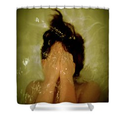 Frightened Young Girl Shower Curtain