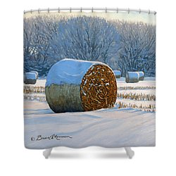 Frigid Morning Bales Shower Curtain by Bruce Morrison