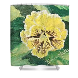 Frilly Yellow Pansy Shower Curtain