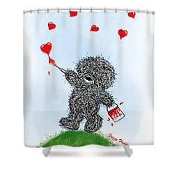 Frizzy Freddy- Painting Hearts Just For You Shower Curtain