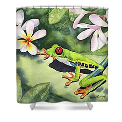 Frog And Plumerias Shower Curtain