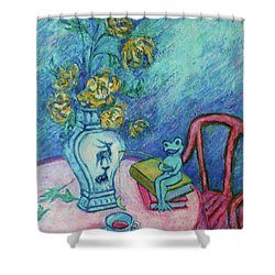 Shower Curtain featuring the painting Frog Fishing Under Chrysanthemums by Xueling Zou
