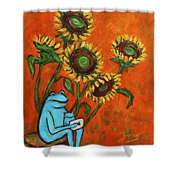 Frog I Padding Amongst Sunflowers Shower Curtain by Xueling Zou
