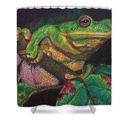 Shower Curtain featuring the painting Froggie by Karen Ilari