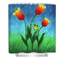 Froggy Tulips Shower Curtain
