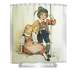 Frolic For Fun Little Swiss Sheep Herder Shower Curtain