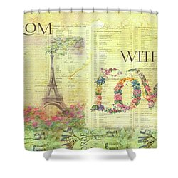 From Paris With Love Eiffel Tower Shower Curtain