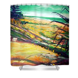 Shower Curtain featuring the painting From The Lawn Pandanus by Winsome Gunning