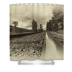 Shower Curtain featuring the photograph From The Track Antique by Darcy Michaelchuk