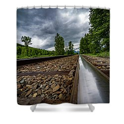 Shower Curtain featuring the photograph From The Track by Darcy Michaelchuk