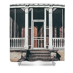 Shower Curtain featuring the photograph Front Door Of Abandoned Building by Kim Hojnacki