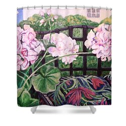Shower Curtain featuring the painting Front Porch Flowers by Laura Aceto