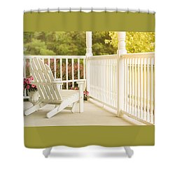 Front Porch In Summer Shower Curtain by Diane Diederich