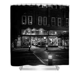 Front Street Crossing In Black And White Shower Curtain