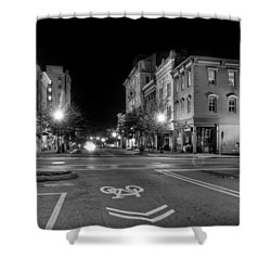 Front Street In Wilmington North Carolina In Black And White Shower Curtain