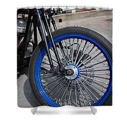 Front Wheel With Blue Rims And Fat Chrome Spokes Of Vintage Styl Shower Curtain