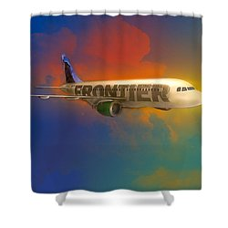 Frontier Airbus A-319 Shower Curtain by J Griff Griffin