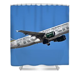 Frontier Airbus A320-214 N213fr Montana The Elk Phoenix Sky Harbor January 12 2015 Shower Curtain by Brian Lockett
