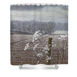 Frost-covered Rural Field Cumbria Shower Curtain by John Short