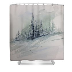 Frost On The Pines Shower Curtain