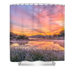Frosted Dawn At The Wetlands Shower Curtain
