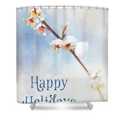 Frosted Witch Hazel Blossoms Holiday Card Shower Curtain