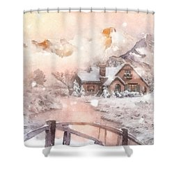 Frosty Creek Shower Curtain by Mo T