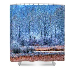 Shower Curtain featuring the digital art Frosty Morning At The Marsh Photo Art by Sharon Talson