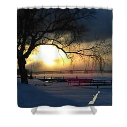 Shower Curtain featuring the photograph Frosty Morning Sturgeon Bay Harbor by Perry Andropolis