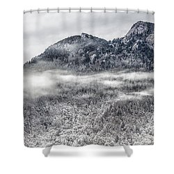 Snowy Grandfather Mountain - Blue Ridge Parkway Shower Curtain