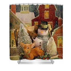 Shower Curtain featuring the painting Frosty The Snowman by Mo T