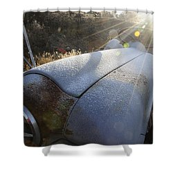 Shower Curtain featuring the photograph Frosty Tractor by Susie Rieple
